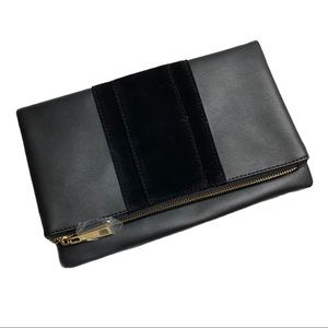 Summer & Rose Black Faux Leather Foldover Clutch